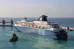 MV Zenith, Pullmantur. MV Zenith is a cruise ship in the port of Bridgetown, Barbados. The vessel is owned by the Spain-based shipping company Pullmantur Cruises Stock Images