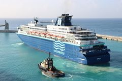 MV Zenith, Pullmantur. MV Zenith is a cruise ship in the port of Bridgetown, Barbados. The vessel is owned by the Spain-based shipping company Pullmantur Cruises Stock Photos