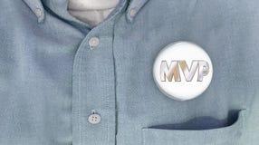MVP der meiste wertvolle Spieler Person Button Pin Shirt Lizenzfreie Stockfotos