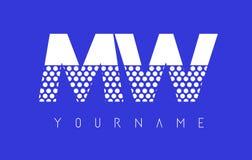 MW M W Dotted Letter Logo Design con el fondo azul Fotografía de archivo