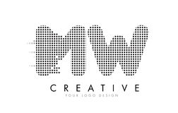 MW M W Letter Logo with Black Dots and Trails. royalty free illustration