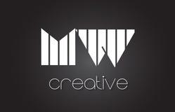 MW M W Letter Logo Design With White et lignes noires Photos stock