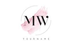 MW M W Watercolor Letter Logo Design con el modelo circular del cepillo libre illustration