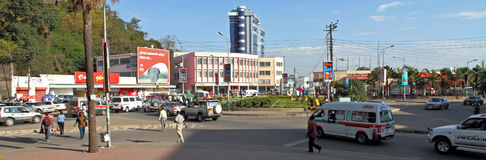 Mwanza City Tanzania Traffic Circle. Daily traffic rounding a traffic circle in Mwanza, Tanzania stock image