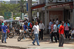 Mwanza, Tanzania Street Corner. A street corner in Mwanza, Tanzania bustles with daily activity stock photography