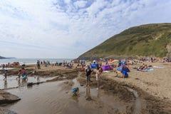 Mwnt strand royaltyfria bilder