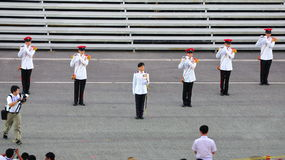 MWO Jennifer Tan leading the parade at NDP 2011 Stock Photos