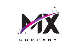 MX M X Black Letter Logo Design with Purple Magenta Swoosh Royalty Free Stock Photography