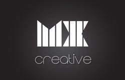 MX M X Letter Logo Design With White et lignes noires Image stock