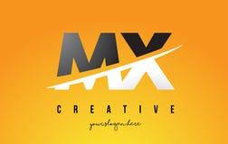 MX M X Letter Modern Logo Design avec le fond jaune et le Swoo illustration stock
