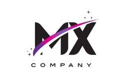 MX M X Black Letter Logo Design com Swoosh magenta roxo Fotografia de Stock Royalty Free