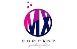 MX M X Circle Letter Logo Design avec Dots Bubbles pourpre Photographie stock libre de droits