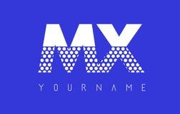 MX M X Dotted Letter Logo Design con el fondo azul Imágenes de archivo libres de regalías