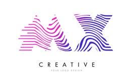 MX M X Zebra Lines Letter Logo Design avec des couleurs magenta Image stock