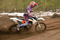 MX rider problem in turn motocross track Stock Photo