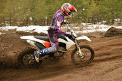 MX rider problem in turn motocross track Royalty Free Stock Images