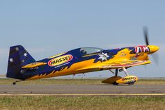 MX-S Aerobatic and Air Racing aircraft VH-CQE flown by Reb Bull Air Race Pilot Matt Hall. royalty free stock photo