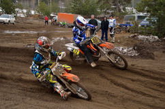 MX two riders competing in the rotation Royalty Free Stock Photo