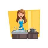 Myć naczynie kreskówki ikonę z kobiety gospodynią domową ilustracja wektor