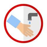 Myć ręki mieszkania ikonę ilustracja wektor