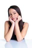 myśląca brunetki kobieta zdjęcie royalty free