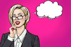 Myśląca młoda seksowna biznesowa kobieta z otwartym usta przyglądającym w górę pustego bąbla na Uśmiechu wystrzału sztuki dziewcz zdjęcie royalty free