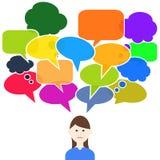 Myślącej kobiety mowy kolorowi bąble ilustracji