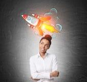 Myślący Afrykański dziewczyny i rakiety nakreślenie Obraz Stock