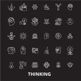 Myślący editable kreskowy ikony wektorowy ustawiający na czarnym tle Myślące białe kontur ilustracje, znaki, symbole ilustracji