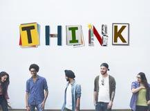 Myśl Myśleć pomysł umiejętność Zaczyna up pojęcie zdjęcia royalty free