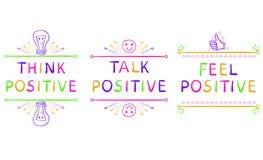 MYŚL pozytyw, rozmowa pozytyw, odczucie pozytyw Inspiracyjni zwroty odizolowywający na bielu Doodle winiety ilustracji