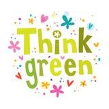 Myśl zielenieje tekst Lampa i zieleni miasta miasteczka tło Fotografia Stock