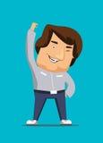 Myśleć pozytywnie mężczyzna jest żywym żywym ilustracyjnym ikoną Zdjęcia Stock