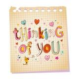Myśleć ty - notepad papieru miłości wiadomość royalty ilustracja