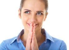 Myślenie życzeniowe, bizneswoman odizolowywający na biel Zdjęcia Stock