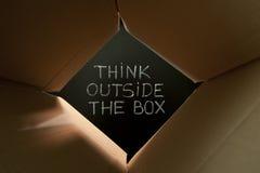 Myśli outside pudełko na blackboard Obrazy Stock