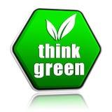 Myśli zieleń z liściem podpisuje wewnątrz zielonego guzika Fotografia Royalty Free