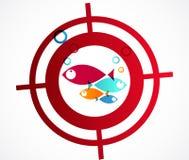 Myśliwego loga abstrakta rybi tło Zdjęcie Royalty Free