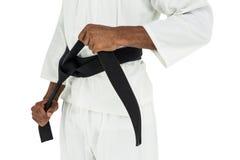 Myśliwski naciągowy karate pasek fotografia royalty free