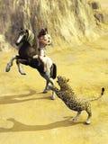 Myśliwy przeciw duży kotu Zdjęcia Royalty Free