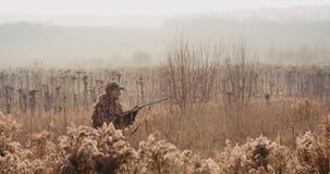 Myśliwy w łowieckim wyposażeniu z karabinem w jego ręce kraść przez krzaka w polu, znajduje cel i cel Wschód słońca światło zbiory wideo