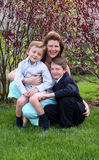 My 2 Sons. Mother outside with 2 sons all smiling Royalty Free Stock Photography