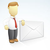 My Address. Vector illustration of a businessman is standing beside a giant envelope Royalty Free Stock Images
