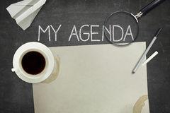 My agenda concept on black blackboard Stock Images