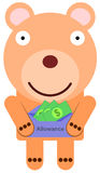 My allowance. Illustration of a bear holding it's allowance Stock Image