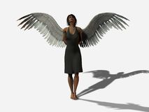 My Angel. Beautiful woman with wings in a grey dress Stock Images