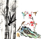 My art work from 2012-2014-- flower and bird. The view of the plum blossom, bamboo, stone and bird stock illustration