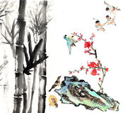 My art work from 2012-2014-- flower and bird. The view of the plum blossom, bamboo, stone and bird royalty free illustration
