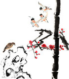 My art work from 2012-2014-- flower and bird. The view of the plum blossom, bamboo, stone and bird vector illustration
