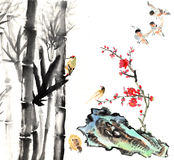My art work-- plum blossom, bamboo and bird Royalty Free Stock Images
